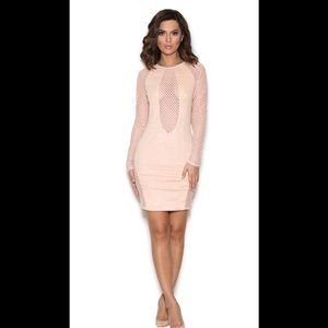HOUSE OF CB Roc Open Mesh Microsuede Dress XS
